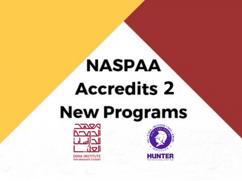 "Image contains the title ""NASPAA Accredits 2 New Programs"" and the logos for the 2 universities."