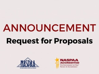 Image shows an Announcement of a Request for Proposals wiith NASPAA and COPRA logos.