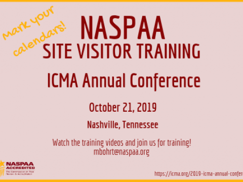 ICMA Site Visitor Training flyer