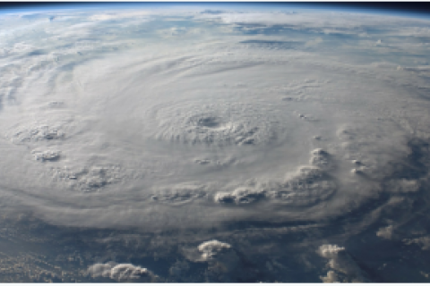 Picture of clouds above hurricane from space