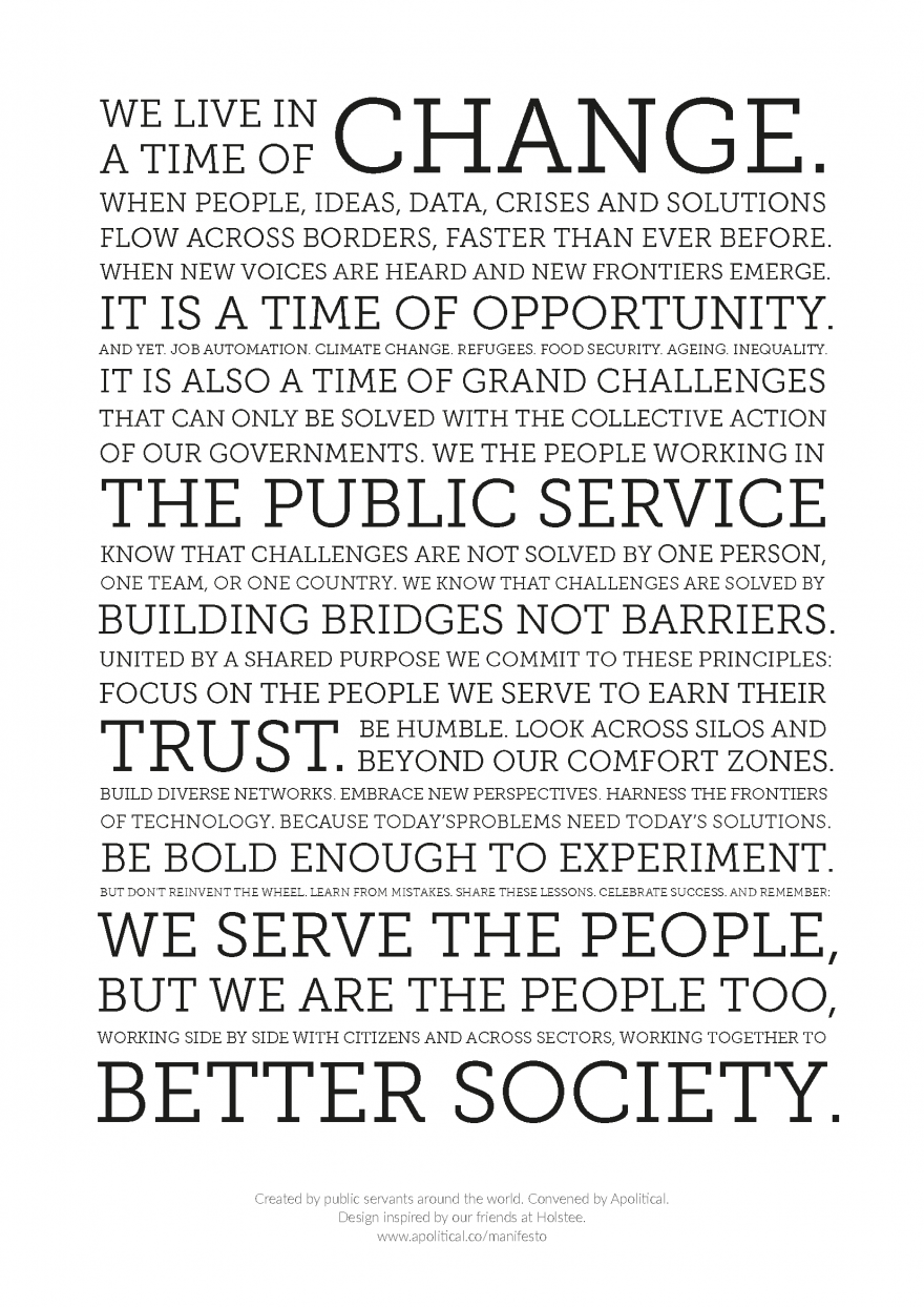 Public Service Manifesto from Apolitical
