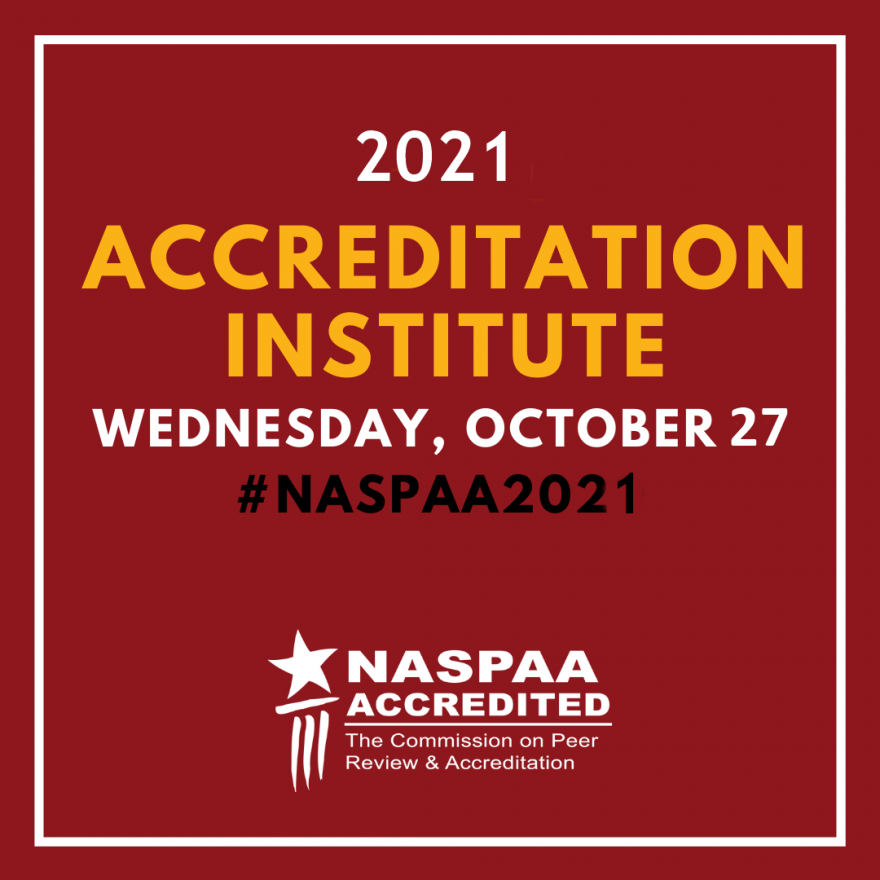 Banner for 2021 Accreditation Institute, including date of Wednesday, October 27.